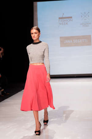 sums: St. Petersburg, Russia - December 5, 2015: Collection of the brand Jana Segetti at the fashion show during St. Petersburg Fashion Week Overview. The event sums up the year