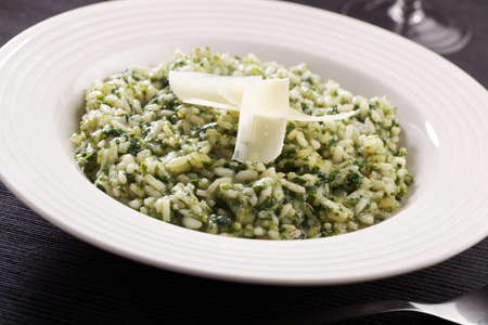 Parmesan: Spinach risotto with Parmesan cheese