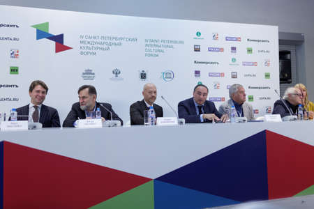 big screen: St. Petersburg, Russia - December 14, 2015: Conference Films On Big Screen, Restoration And Development in the General Staff building during 4th St. Petersburg International Cultural Forum