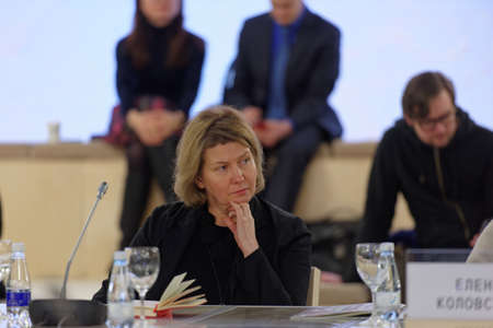 panelist: St. Petersburg, Russia - December 13, 2015: Director of Kaliningrad State Center of Contemporary Art Elena Tsvetayeva at the round table discussion during 4th St. Petersburg International Cultural Forum