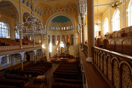 consecrated: St. Petersburg, Russia - November 5, 2015: Interior of the Grand Choral Synagogue. The synagogue was designed in Moorish style and was consecrated in 1893