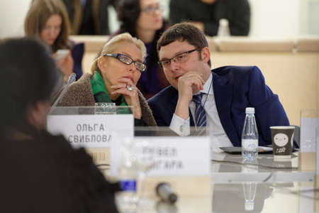 discussion forum: St. Petersburg, Russia - December 13, 2015: Director of Multimedia Art Museum Olga Sviblova left and executive director of Moscow Museum of Contemporary Art Vasily Tsereteli at the round table discussion during 4th International Cultural Forum