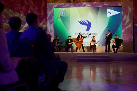 philanthropist: St. Petersburg, Russia - December 14, 2015: Musicians preform during the award ceremony Philanthropist of the Year at the 4th St. Petersburg International Cultural Forum. Alisher Usmanov got the award
