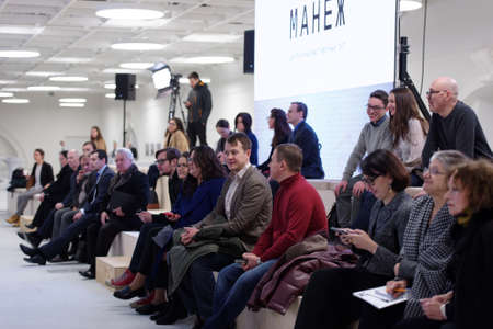panelist: St. Petersburg, Russia - December 13, 2015: Spectators of the round table discussion in the central exhibition hall Manege during 4th St. Petersburg International Cultural Forum Editorial