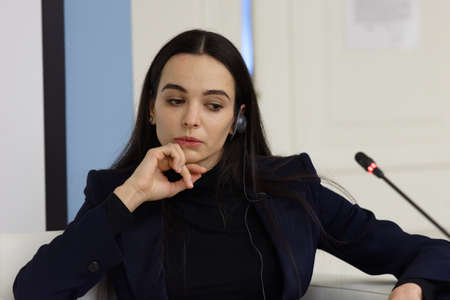 panelist: St. Petersburg, Russia - December 15, 2015: Prima ballerina of the Mariinsky theater Diana Vishneva at the panel discussion during 4th St. Petersburg International Cultural Forum