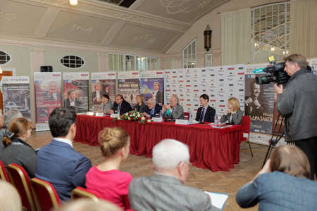 sibelius: St. Petersburg, Russia - December 7, 2015: Press conference devoted to opening of the festival Arts Square. This year festival is dedicated to anniversaries of Tchaikovsky, Sibelius, and Sviridov