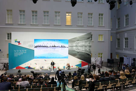 unesco world cultural heritage: St. Petersburg, Russia - December 14, 2015: Plenary meeting dedicated to 25 anniversary of including the Russian sites in UNESCO World Heritage list during 4th St. Petersburg International Cultural Forum