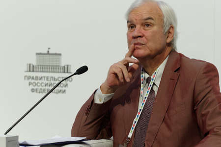 the showman: St. Petersburg, Russia - December 14, 2015: Showman Vladimir Molchanov at the plenary meeting dedicated to 25 anniversary of including the Russian sites in UNESCO World Heritage list during 4th St. Petersburg International Cultural Forum