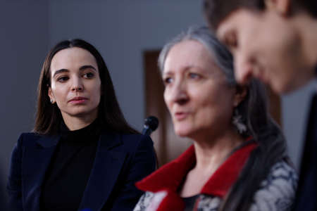 panelist: St. Petersburg, Russia - December 15, 2015: Prima ballerina of the Mariinsky theater Diana Vishneva left at the panel discussion during 4th St. Petersburg International Cultural Forum