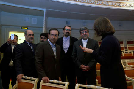 delegation: St. Petersburg, Russia - December 15, 2015: Iranian delegation headed by the Minister of culture and Islamic Guidance Ali Jannati second from the right during 4th St. Petersburg International Cultural Forum