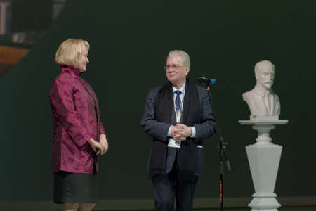 mikhail: St. Petersburg, Russia - December 16, 2015: Director of the Hermitage Museum Mikhail Piotrovsky center presenting awards during the closing ceremony of 4th St. Petersburg International Cultural Forum
