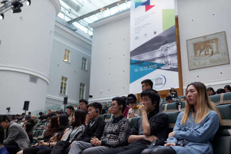 atrium: St. Petersburg, Russia - December 15, 2015: People at the Russian-Chinese Conference on Arts Education during 4th St. Petersburg International Cultural Forum in the Atrium of the General Staff building Editorial