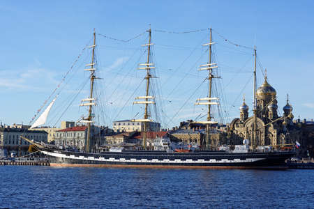 barque: St. Petersburg, Russia - November 5, 2015: Four masted barque Krusenstern anchored at the embankment of Lieutenant Schmidt. This year the sailing ship visited all coastal Russian hero cities