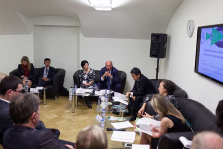 tourism in russia: St. Petersburg, Russia - December 15, 2015: Discussion Inbound tourism from China: Features and Prospects during 3rd St. Petersburg International Tourism Forum