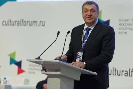 igor: St. Petersburg, Russia - December 14, 2015: Vice-governor of St. Petersburg Igor Albin at the plenary meeting dedicated to 25 anniversary of including the Russian sites in UNESCO World Heritage list during 4th St. Petersburg International Cultural Forum