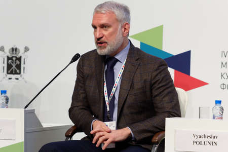 company director: St. Petersburg, Russia - December 16, 2015: General director of the Rosgostsirk company Vadim Gagloyev during the final plenary session of 4th St. Petersburg International Cultural Forum
