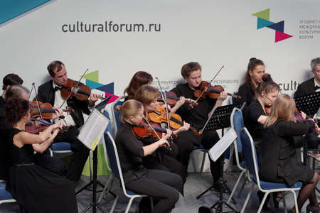 symphony orchestra: St. Petersburg, Russia - December 16, 2015: Symphony Orchestra of St. Petersburg perform at the creative meeting dedicated to the 150th anniversary of Jean Sibelius during the 4th St. Petersburg International Cultural Forum
