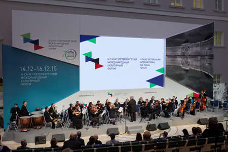 sibelius: St. Petersburg, Russia - December 16, 2015: Meeting and concert Classical Music Art: Yesterday-Today-Tomorrow dedicated to the 150th anniversary of Jean Sibelius during 4th St. Petersburg International Cultural Forum