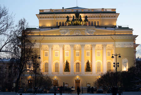 city pushkin: St. Petersburg, Russia - January 5, 2016: Building of Alexandrinsky theater in a winter evening. Created in 1756, the theater is housed in the building designed by Carlo Rossi since 1832 at the Nevsky avenue