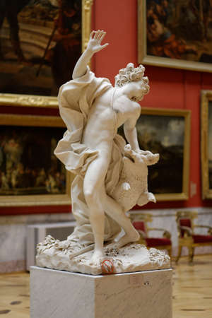 10 12: St. Petersburg, Russia - December 10, 2015: Sculpture of Giuseppe Mazzuola Death Of Adonis in the State Hermitage Museum. The museum has more than 3 millions exhibits including 12,798 sculptures