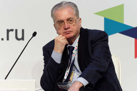 mikhail: St. Petersburg, Russia - December 16, 2015: Director the State Hermitage Museum Mikhail Piotrovsky during the final plenary session of 4th St. Petersburg International Cultural Forum Editorial