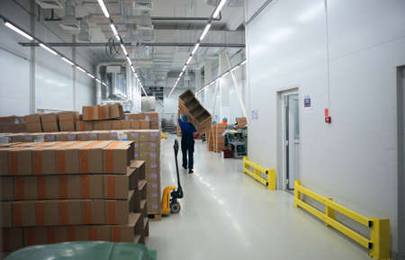 pharmaceutical plant: St. Petersburg, Russia - September 24, 2015: Finished production warehouse on the Solopharm plant. The new modern pharmaceutical plant was built in accordance with Good Manufacturing Practice standards