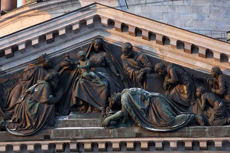 pediment: St. Petersburg, Russia - January 5, 2016: Bas-relief The adoration of the Magi on the pediment of the Southern facade of St. Isaacs cathedral. The bas-reliefs for the cathedral created by Giovanni Vitali in 1839-1844 Editorial