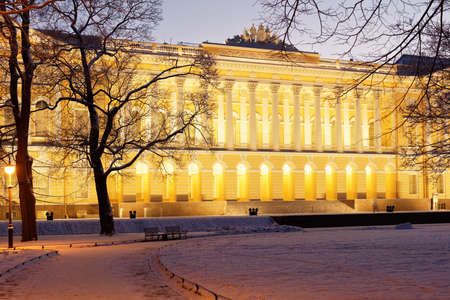 Russian palace: St. Petersburg, Russia - January 08, 2016: Northern facade of Mikhailovsky palace. Built in 1819-1825 by design of Carlo Rossi, the palace houses the Russian Museum since 1895