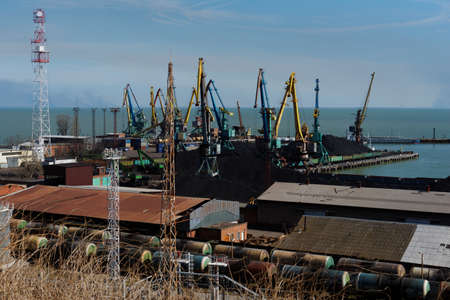 azov: Taganrog, Russia - March 11, 2015: View to cargo terminals of seaport. Taganrog port was found in 1698 by the Emperor Peter the Great