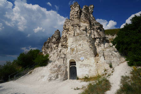 region sicilian: Divnogorie, Voronezh region, Russia - June 8, 2014: People near the cave church of Sicilian Icon of the Mother of God. The church was found in XVII century, and last time restored in mid 1990s