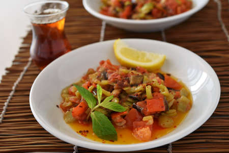 saute: Turkish vegetable saute with pepper, eggplant, and tomato