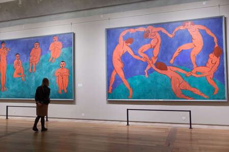 henri: St. Petersburg, Russia - December 3, 2015: Visitor at the paintings of Henri Matisse in the General Staff building of the State Hermitage museum. Exhibition of Matisse is placed here since Manifesta 10 biennial in 2014 Editorial