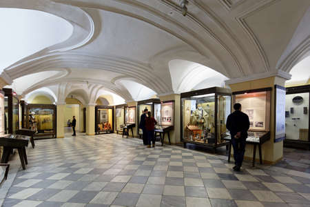 ethnographical: St. Petersburg, Russia - February 20, 2016: Tourists in the Museum of Anthropology and Ethnography in the Kunstkamera building. Established by Peter the Great and completed in 1727, it was the first Russian museum