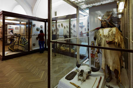 anthropological: St. Petersburg, Russia - February 20, 2016: Tourists in the Museum of Anthropology and Ethnography in the Kunstkamera building. Established by Peter the Great and completed in 1727, it was the first Russian museum