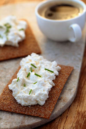 cream cheese: Sandwiches with cream cheese and coffee
