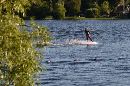 wakeboarding: Wakeboarding on the lake in St. Petersburg, Russia