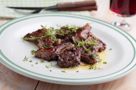 red braised: Lamb chops braised in red wine with thyme