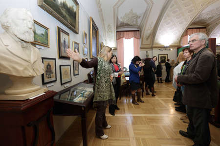 literary: St. Petersburg, Russia - March 24, 2016: Chief curator of the Literary Museum Ksenia Chudakova holds the presentation for tour operators and media representatives