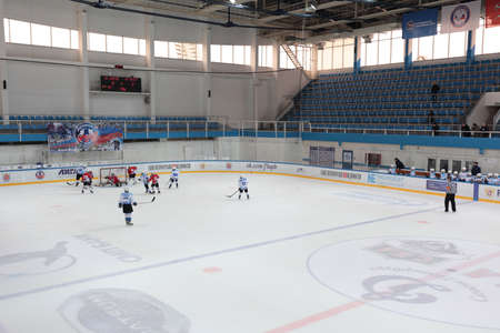 piter: St. Petersburg, Russia - March 25, 2016: Ice hockey match Bobrov vs Piter during the tournament among childrens teams League of the Future. Piter won the match 4:2