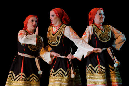 choreographic: St. Petersburg, Russia - March 28, 2016: Young dancers perform Bulgarian dance at the opening ceremony of X International Festival of Choreographic Art Pari Grand. Artists from 9 countries participated in the festival Editorial