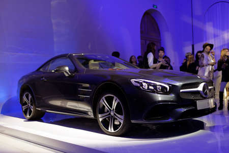 roadster: St. Petersburg, Russia - April 1, 2016: Presentation of new SL-roadster during Mercedes-Benz Fashion Day St. Petersburg. The car transforms from open roadster to cosseting coupe in seconds Editorial