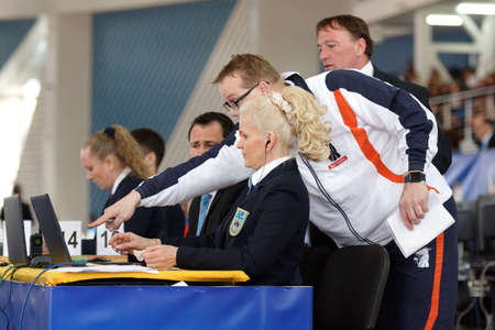 arbitros: St. Petersburg, Russia - April 16, 2016: Dutch coach discusses the moment of the match with referees. 346 athletes from 22 countries participated in the competition