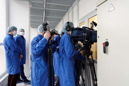 microelectronics: St. Petersburg, Russia - April 18, 2016: Media representatives during the press tour to the microelectronic plant of JSC Avangard. It is Russias leading company in radio electronics Editorial