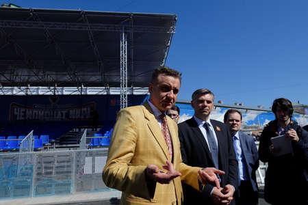 world championship: St. Petersburg, Russia - May 5, 2016: Dmitry Lyuty-Evstrakhov presents the fan zone of Ice Hockey World Championship. Moscow and St. Petersburg host 80th Ice Hockey World Championship Editorial