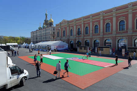 80th: St. Petersburg, Russia - May 5, 2016: Installation of the fan zone of Ice Hockey World Championship. Moscow and St. Petersburg host 80th Ice Hockey World Championship Editorial