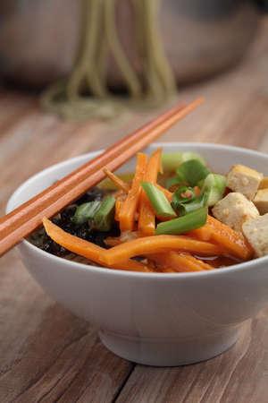 noodle soup: Green tea noodle soup with tofu and vegetables