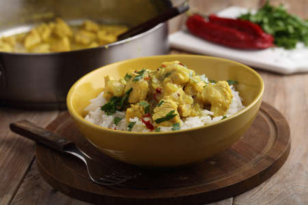 chicken curry: Chicken curry with parsley, chili pepper, and rice Stock Photo