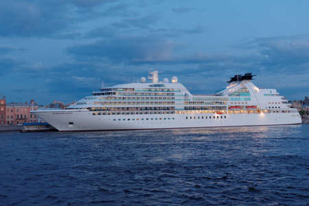 cruise liner: St. Petersburg, Russia - May 17, 2016: Cruise liner Seabourn Quest moored at English embankment. The ship built in 2011 provides luxury cruise for 450 guests Editorial
