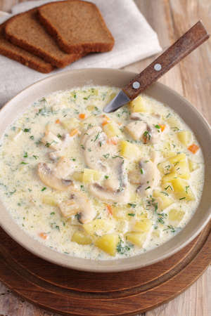 mushroom soup: Mushroom soup with vegetables and cream