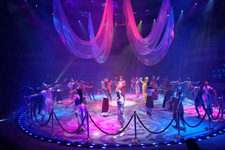 rehearsal: St. Petersburg, Russia - June 2, 2016: Dress rehearsal of the Show of Water, Fire, And Light in the Ciniselli circus. This new show of Anatoly Sokol first time arrived in St. Petersburg